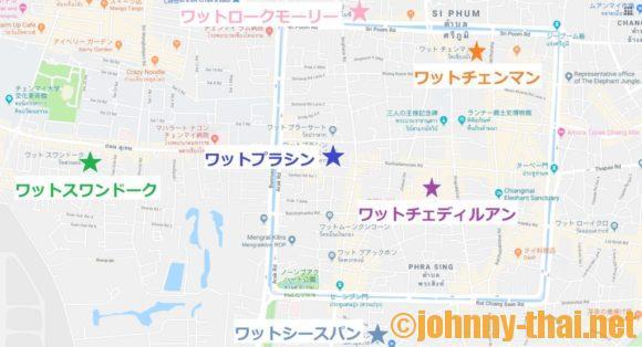 チェンマイ旧市街周辺のおすすめ寺院MAP