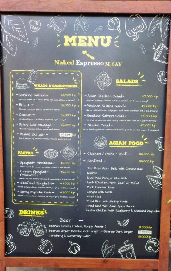 Naked Espresso Misayのメニュー