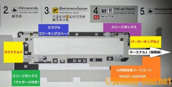 ドンムアン空港ターミナル2の4階MAP